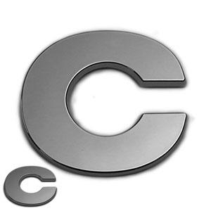 C, 3D Chrombuchstabe 50mm