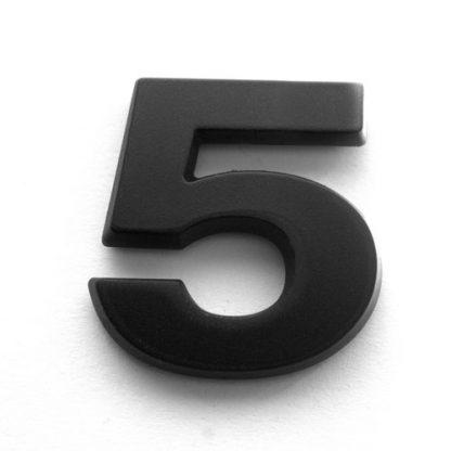 5, 3D Kunststoffziffer, selbstklebend, mattschwarz