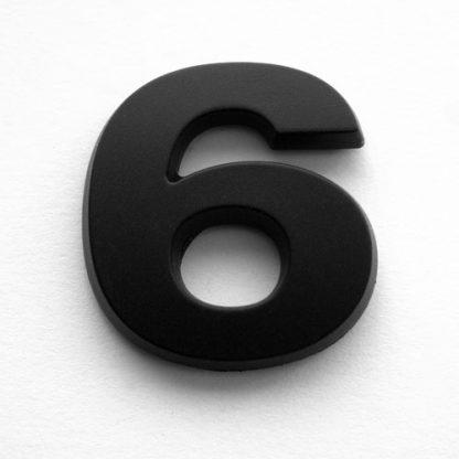 6, 3D Kunststoffziffer, selbstklebend, mattschwarz