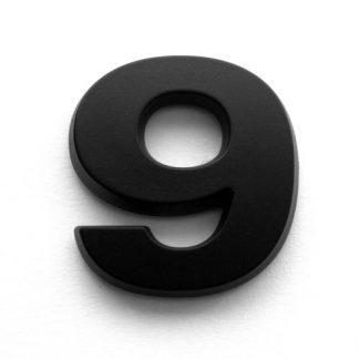 9, 3D Kunststoffziffer, selbstklebend, mattschwarz