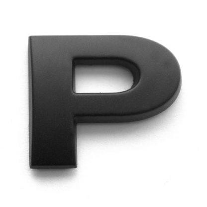 P, 3D Kunststoffbuchstabe, selbstklebend, mattschwarz