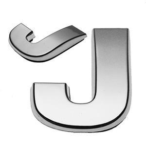 J, 3D Chrombuchstabe