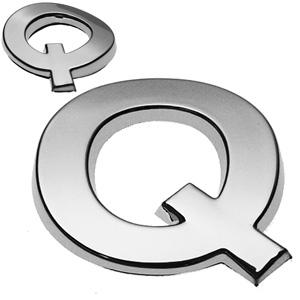 Q, 3D Chrombuchstabe