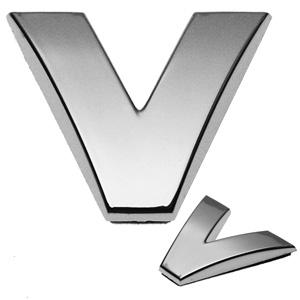 V, 3D Chrombuchstabe